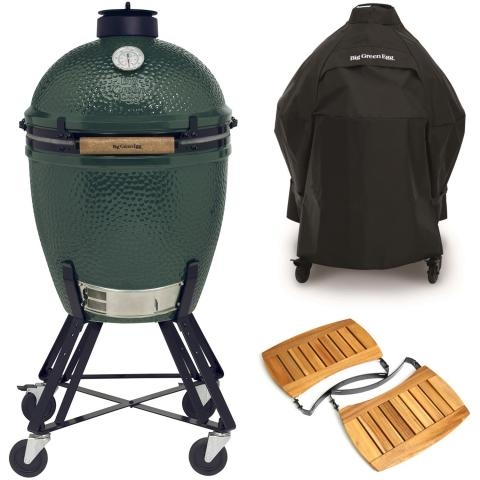 Big Green Egg Large Houtskoolbarbecue met Nest, Acacia EGG Mates en Hoes